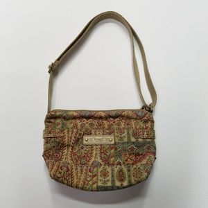 Fossil Printed Hobo Crossbody Zip Pouch Bag Purse